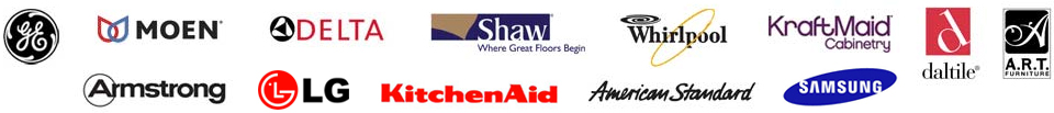 GE, Moen, Delta, Shaw, Whirlpool, Krat Maid, Daltile, Art Furniture, Armstrong, American Standard